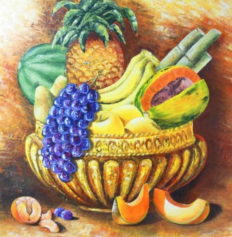 cuadro de bodegon no puede faltar la fruta conocida con el nombre de