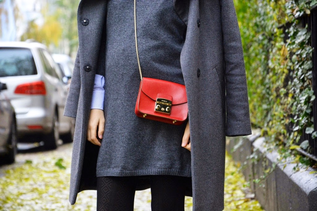 Furla bag, Massimo Dutti, MAC, Hallhuber coat, Calzedonia