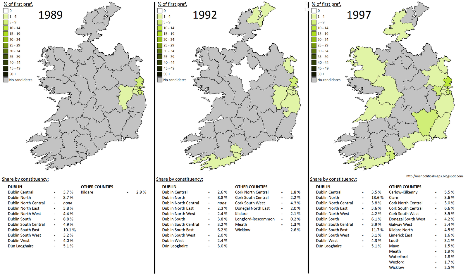 during this time there was also a green presence in northern ireland albeit not to the extent seen in the republic in the same year that the irish ecology