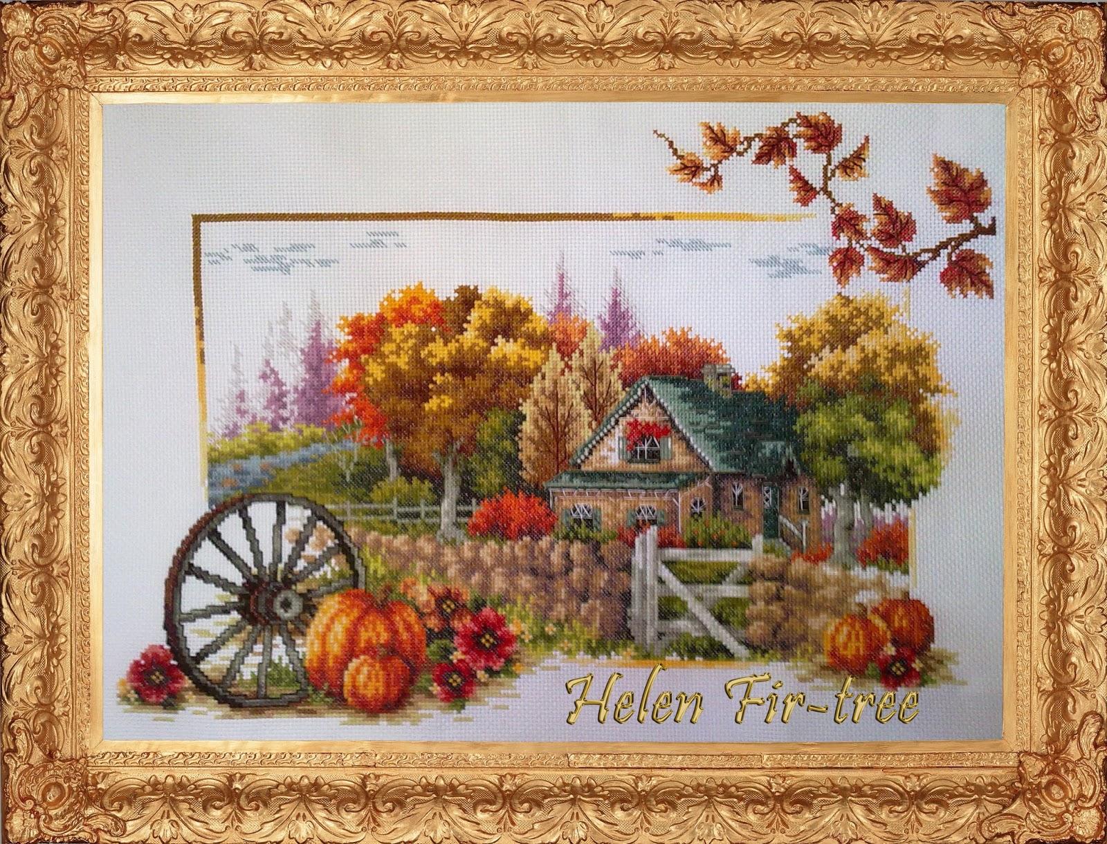 Hwlwn Fir-tree вышивка крестом  времена года Осень counted cross stitch seasons autumn