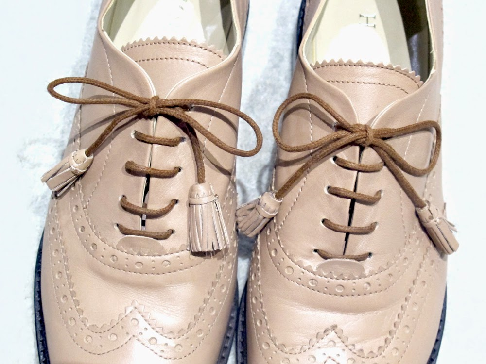 nude leather Hobbs brogues