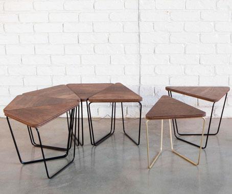 Log triangular modular table fractals for Table pliable design