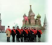 Delegação entrega na Praça Vermelha em Moscou abaixo assinado pela independencia da Lituânia.