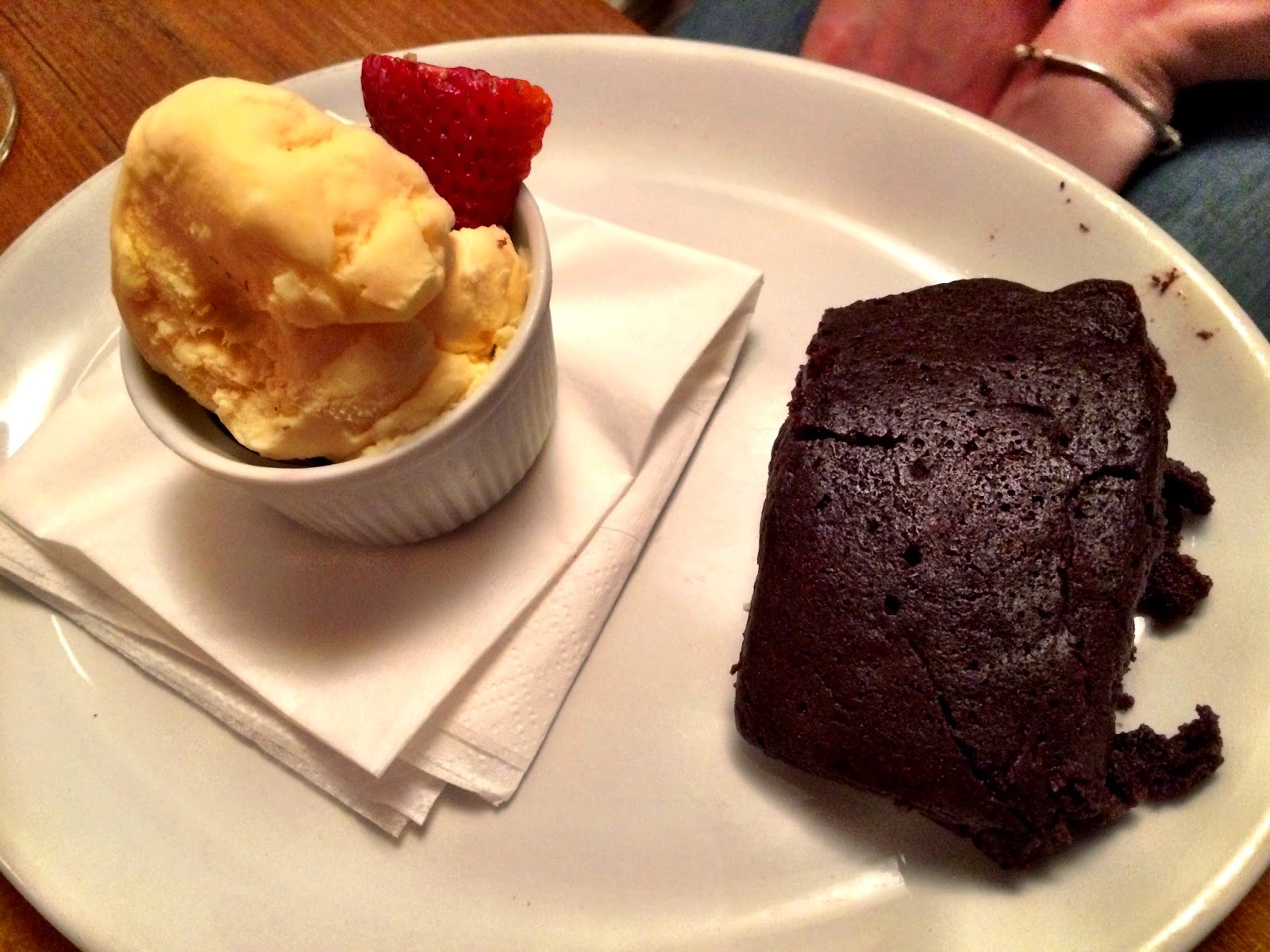 Chocolate brownie & ice cream - White Hart, Whelpley Hill