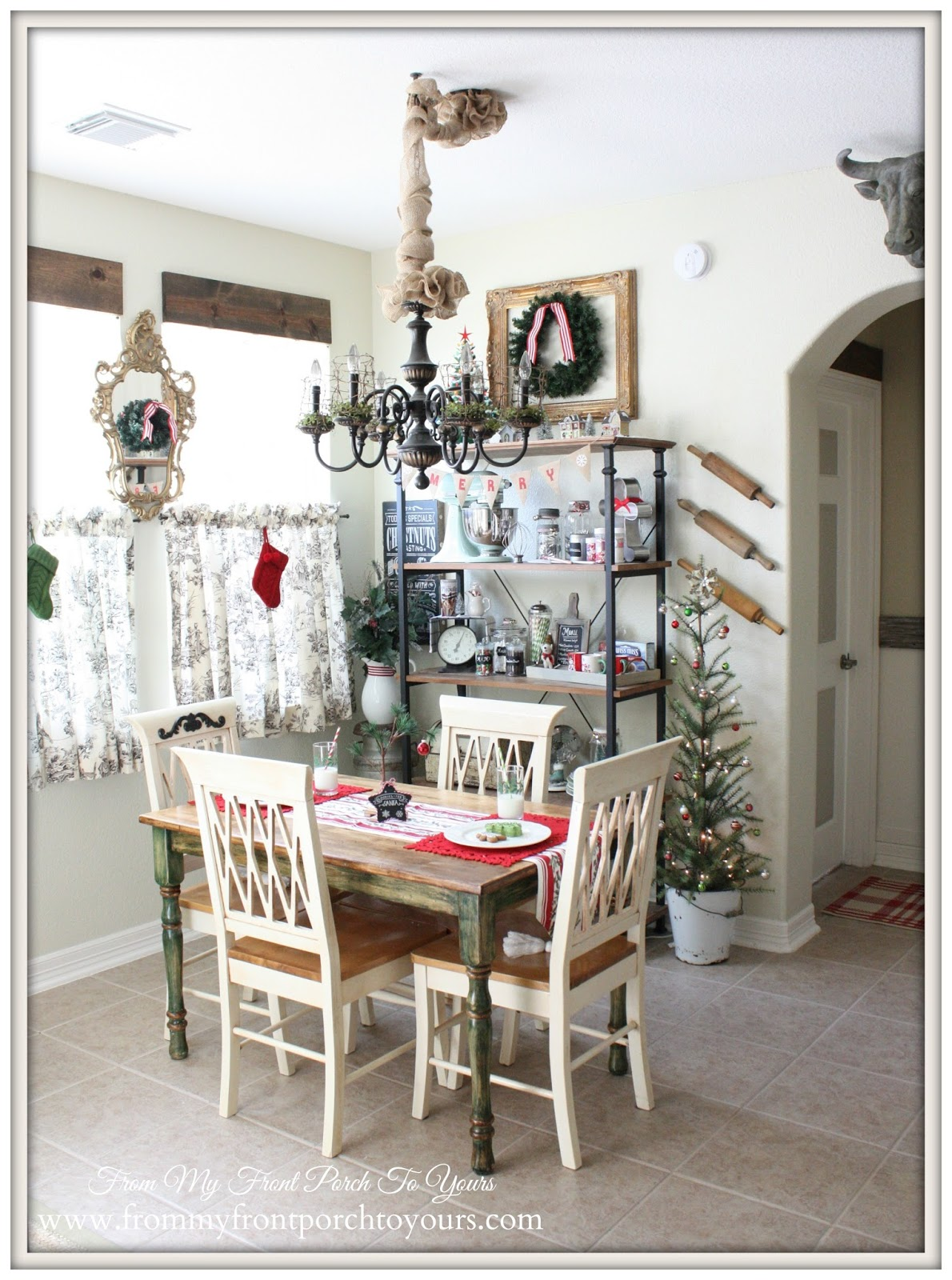 Christmas Breakfast Nook-French Farmhouse Christmas Kitchen- From My Front Porch To Yours