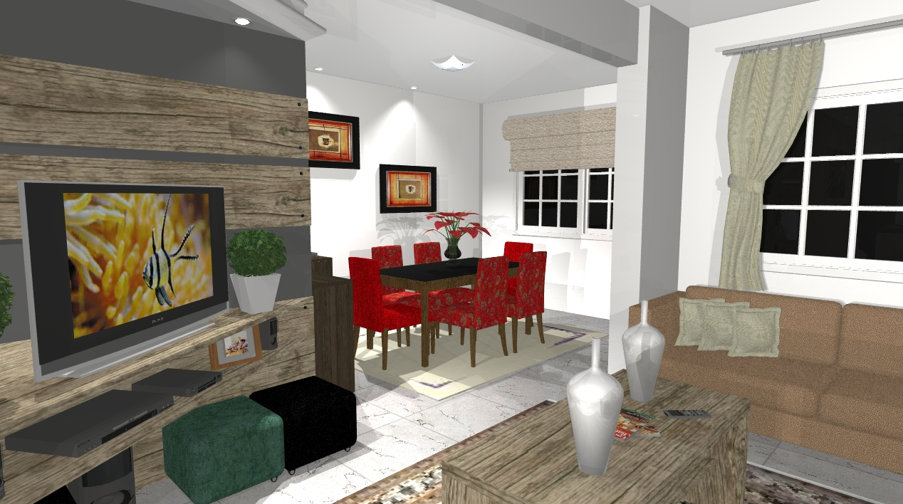 Sala De Jantar Junto Com Estar ~ Ambientes planejados Cozinha, sala de estar e sala de jantar