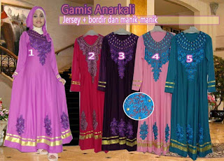 Baju gamis anarkali set jilbab gaya trend 2015