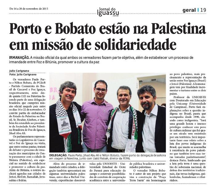 Integrantes da Missão de Solidariedade ao Povo Palestino