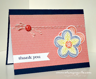 Hand Stamped Triple Treat Flower Thank You Card
