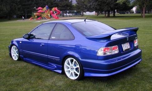Honda Civic Si Blue 1999 Rear Left Spoiler View