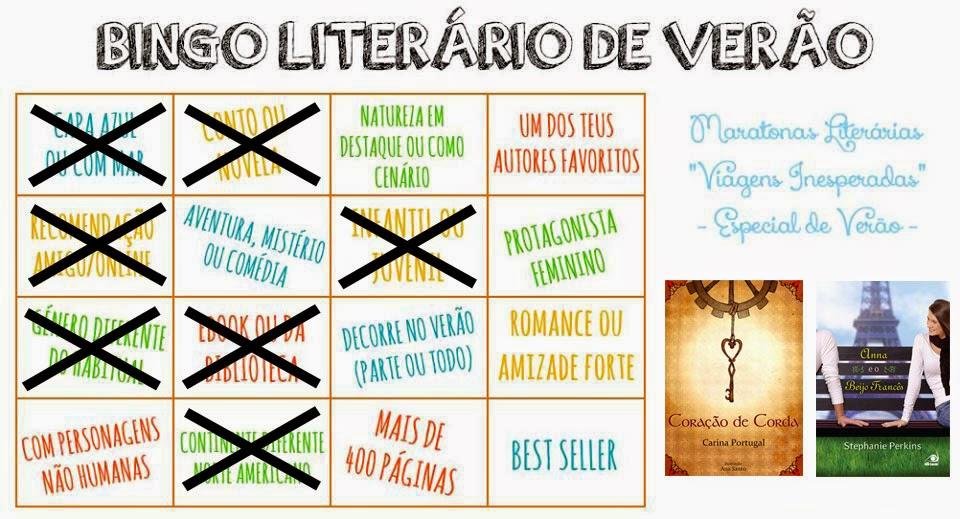 Bingo literário de Verão - 7 categorias preenchidas