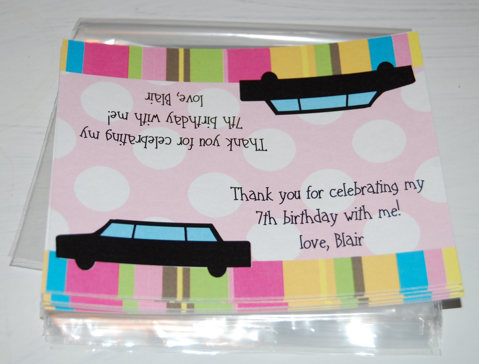Baby face design girls limo ride birthday invitation party favor bags 100 each 12 minimum stopboris Image collections