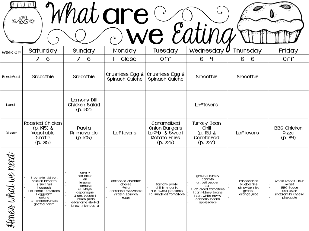 meal planning template with grocery list