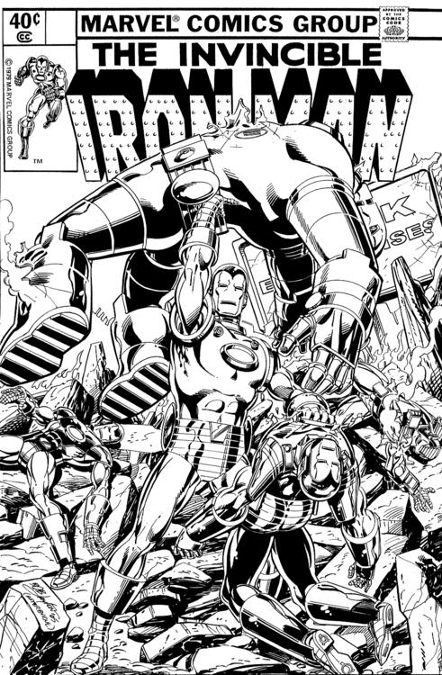 Book Cover Art Commission : Fashion and action iron man war machine line art an
