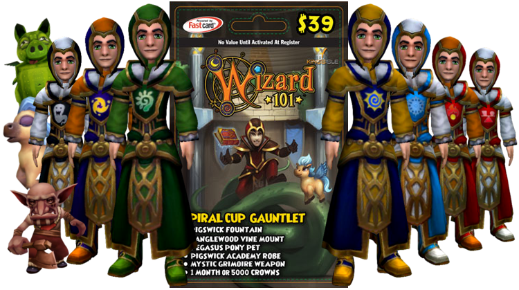 Wizard101 Spiral Cup Gauntlet Bundle Card and Drops