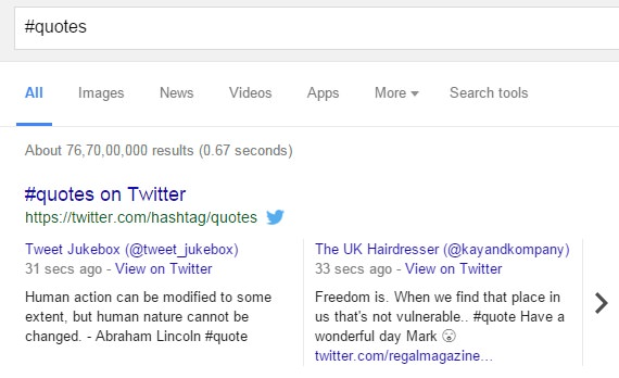 Hashtag related live tweets in SERP