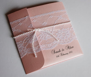 Pocket lace wedding invitation card