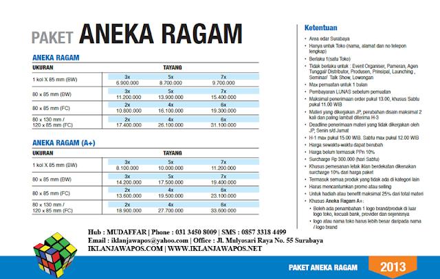 Jawa Pos Iklan Paket Aneka Ragam 2013
