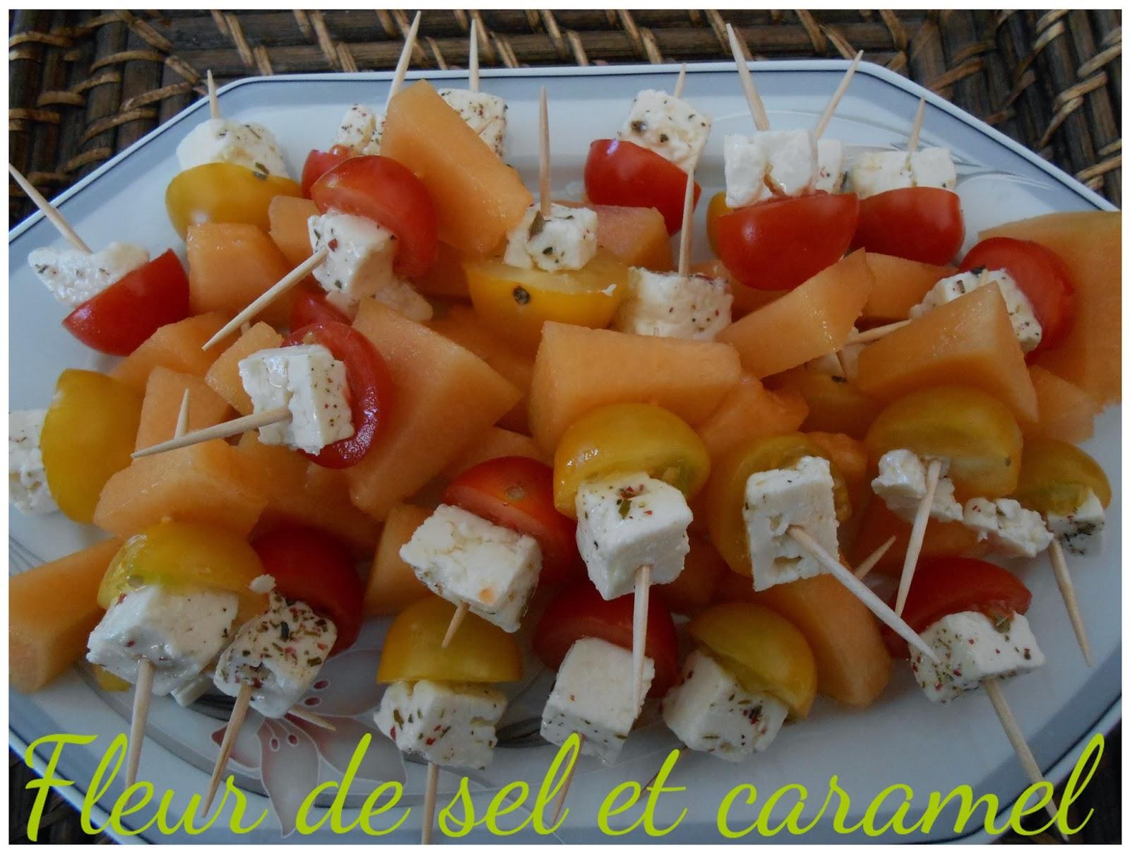 Brochette de melon, feta et tomate cerise