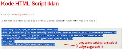 Cara Pasang Script iklan adsensecamp di blogspot/blogger
