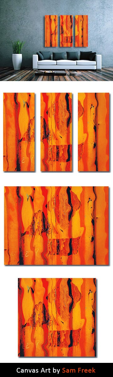 orange, abstract, industrial abstract art, wall art, contemporary, modern, canvas art, canvas print, triptych, buy online,