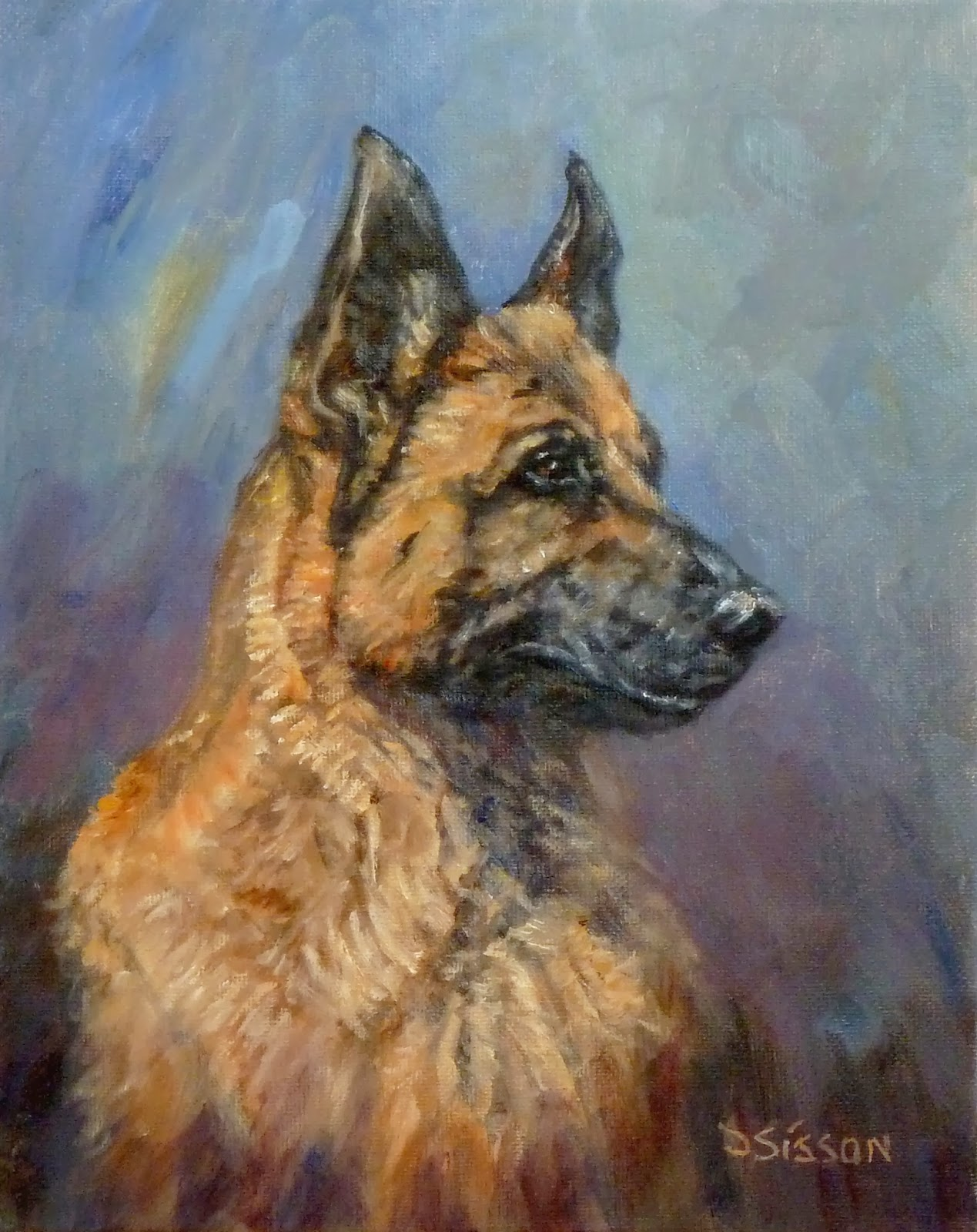 Loyal shepherd oil painting pet portrait dog art animals german