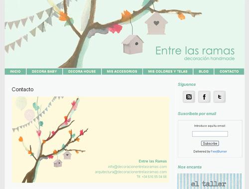 página web de Decoración Entre las Ramas