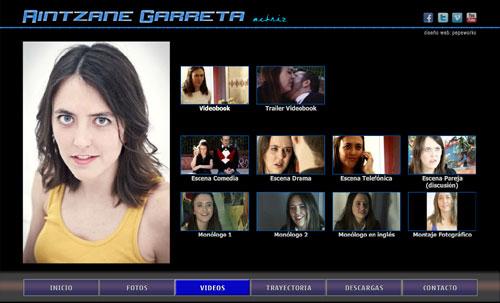 página web oficial de la actriz Aintzane Garreta