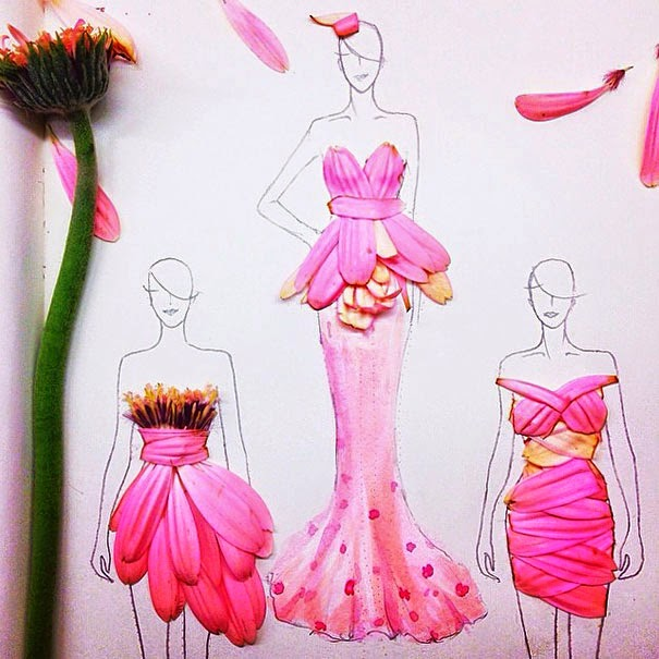 Fashion Illustrations With Real Flower Petals As Clothes