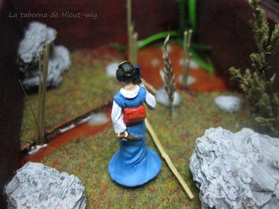 Vista de la geisha desde detrás.