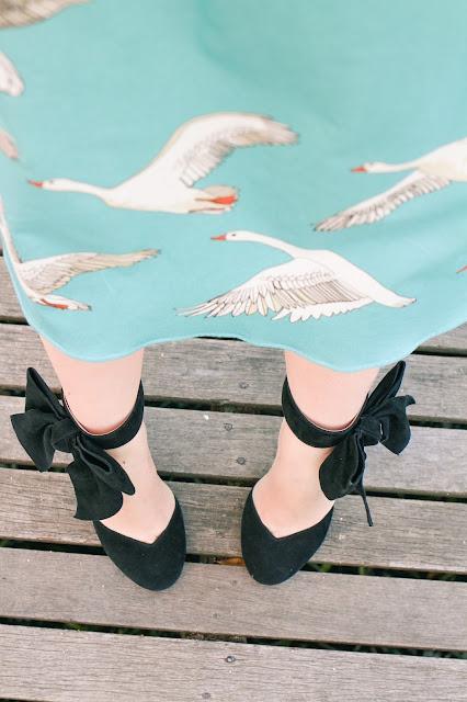 @findinfemme wears miss shop striped bow top, erstwilder earrings, Modcloth heels, Review Australia belt and Jane skirt in Geese from Bob by Dawn O'Porter in Ballarat.