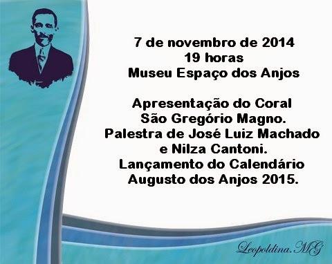 Homenagens a Augusto dos Anjos no dia 7 de novembro.