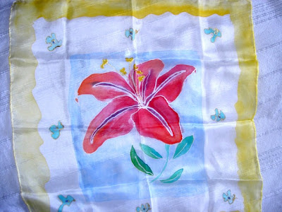 pañuelo de seda pintado a mano, foulard pintado a mano