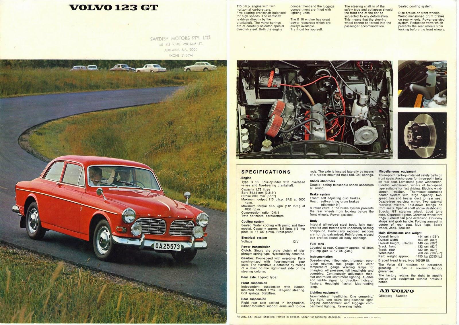 Genuine Volvo 123GT brochure 1968 (cover)