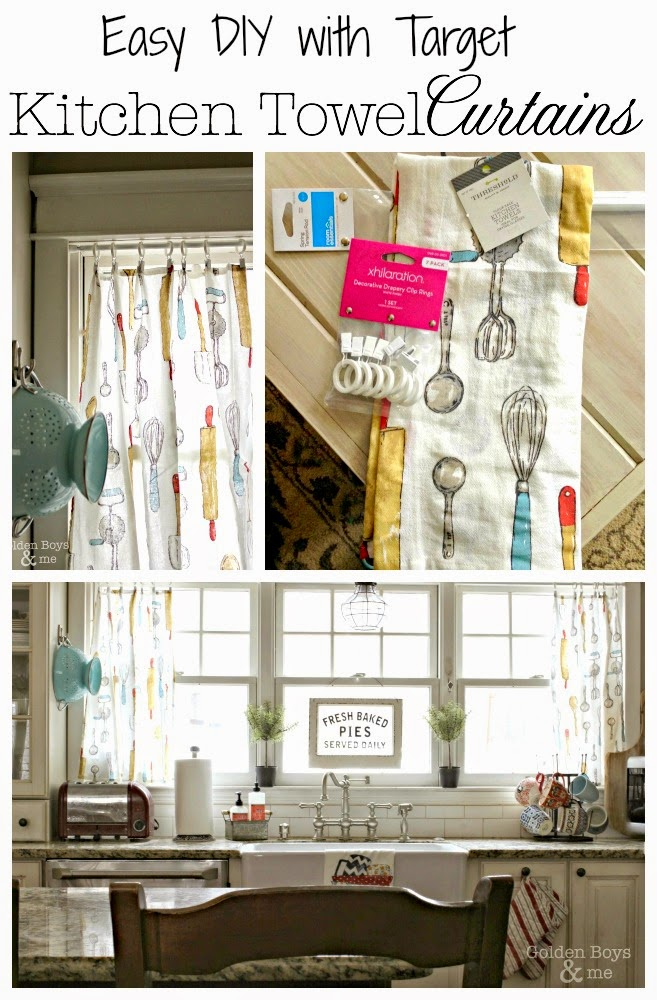 Turn kitchen dish towels into curtains.  Easy & affordable DIY-www.goldenboysandme.com