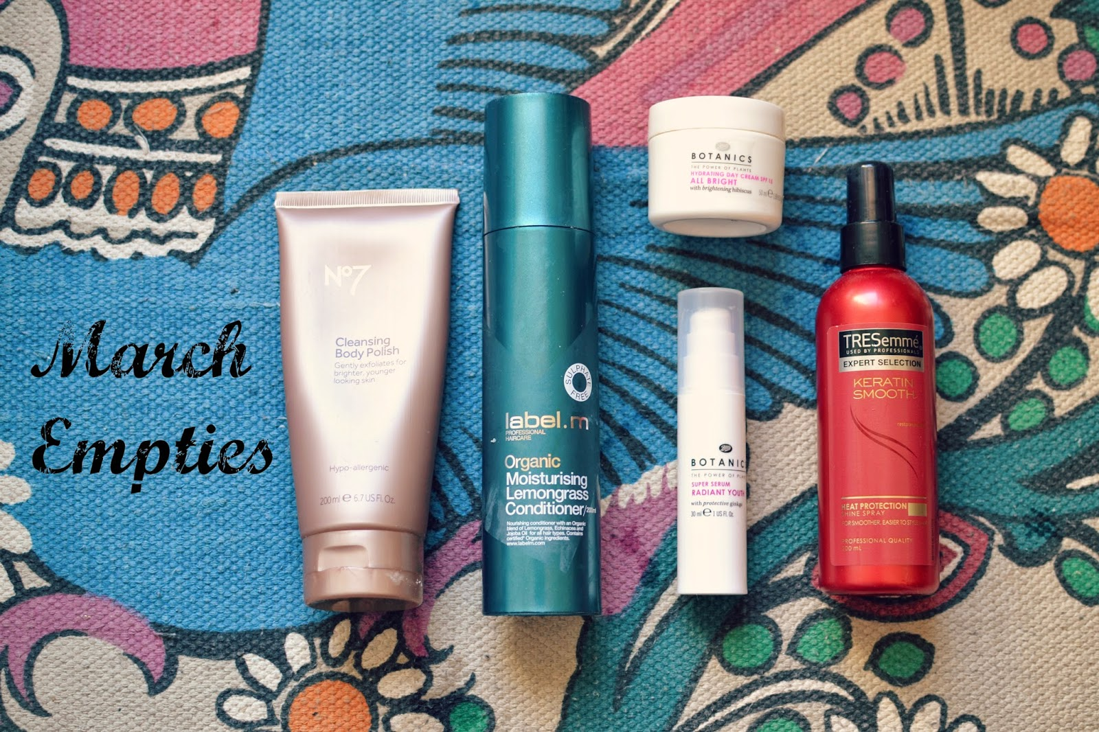 empties no 7 label m botanics tresemme