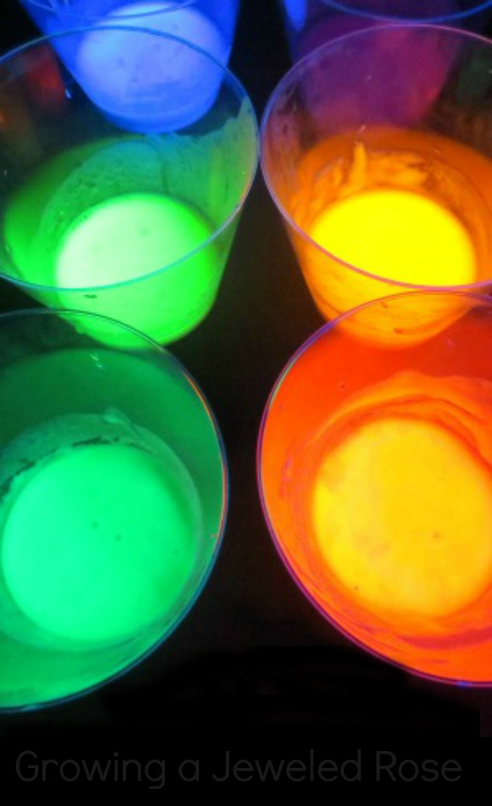 Glowing rainbow water growing a jeweled rose - Glow in the dark paint colors ...