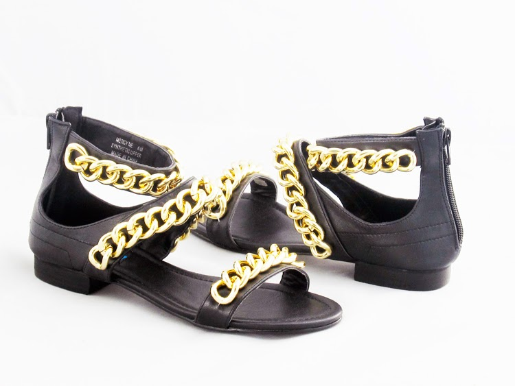 black open toe sandals with gold link chain