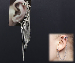 Fringe chain ear cuff