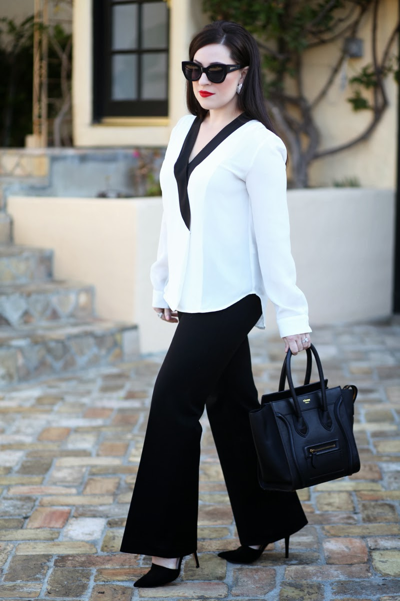 gap-dress-pants-karen-walker-sunglasses-stila-beso-lipstick-tuxedo-style-blouse-king-and-kind-san-diego-style-blogger