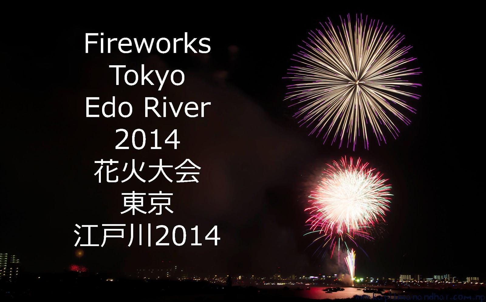 Two Simultaneous Fireworks Tokyo Edo River 2014 花火大会江戸川