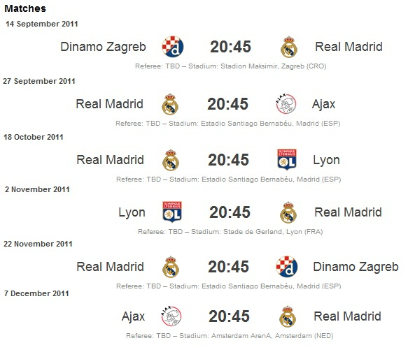 real madrid schedule