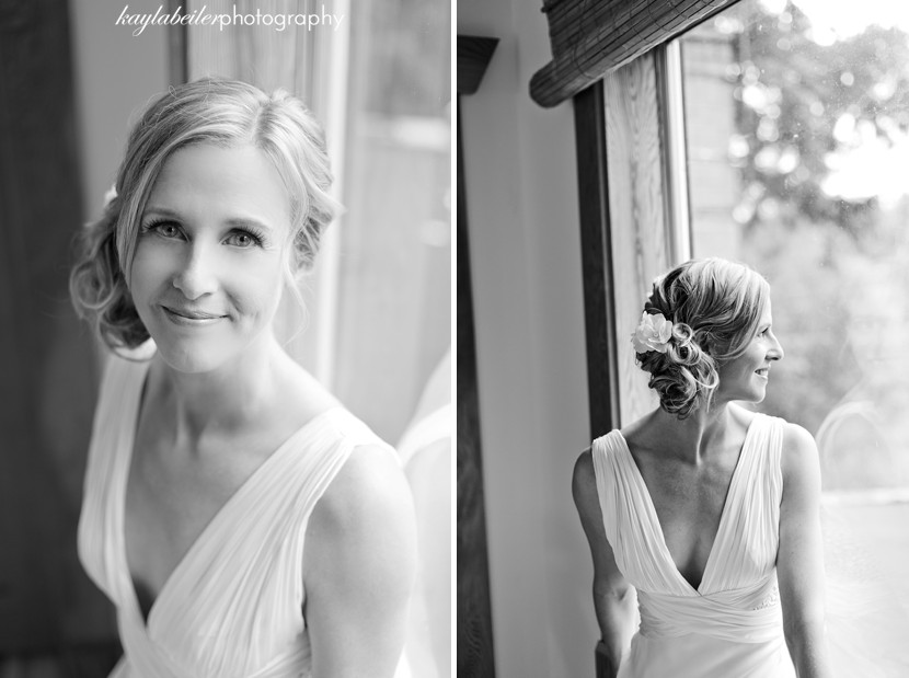 black and white photo of bride photo