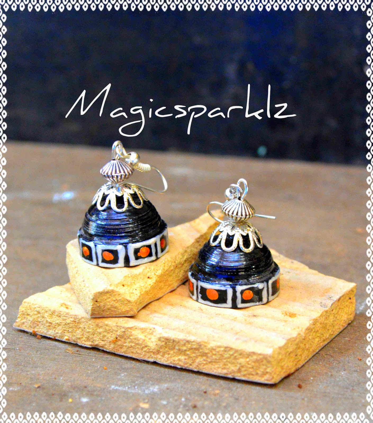 Black and silver jhumka