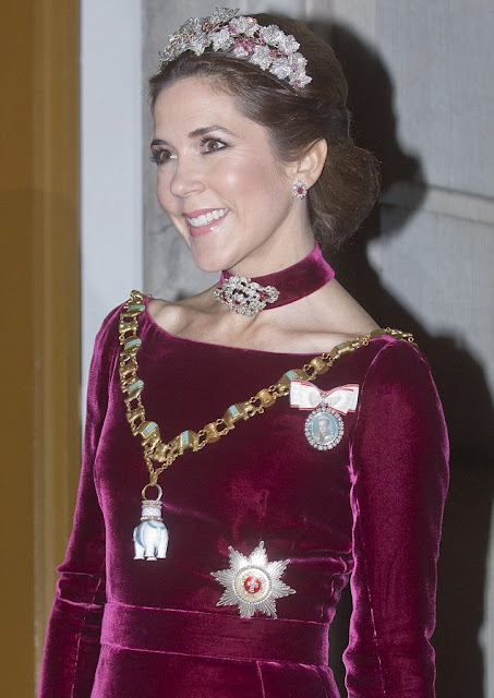 The gown's debut: Crown Princess Mary first wore the burgundy velvet gown at a New Year's banquet in 2014