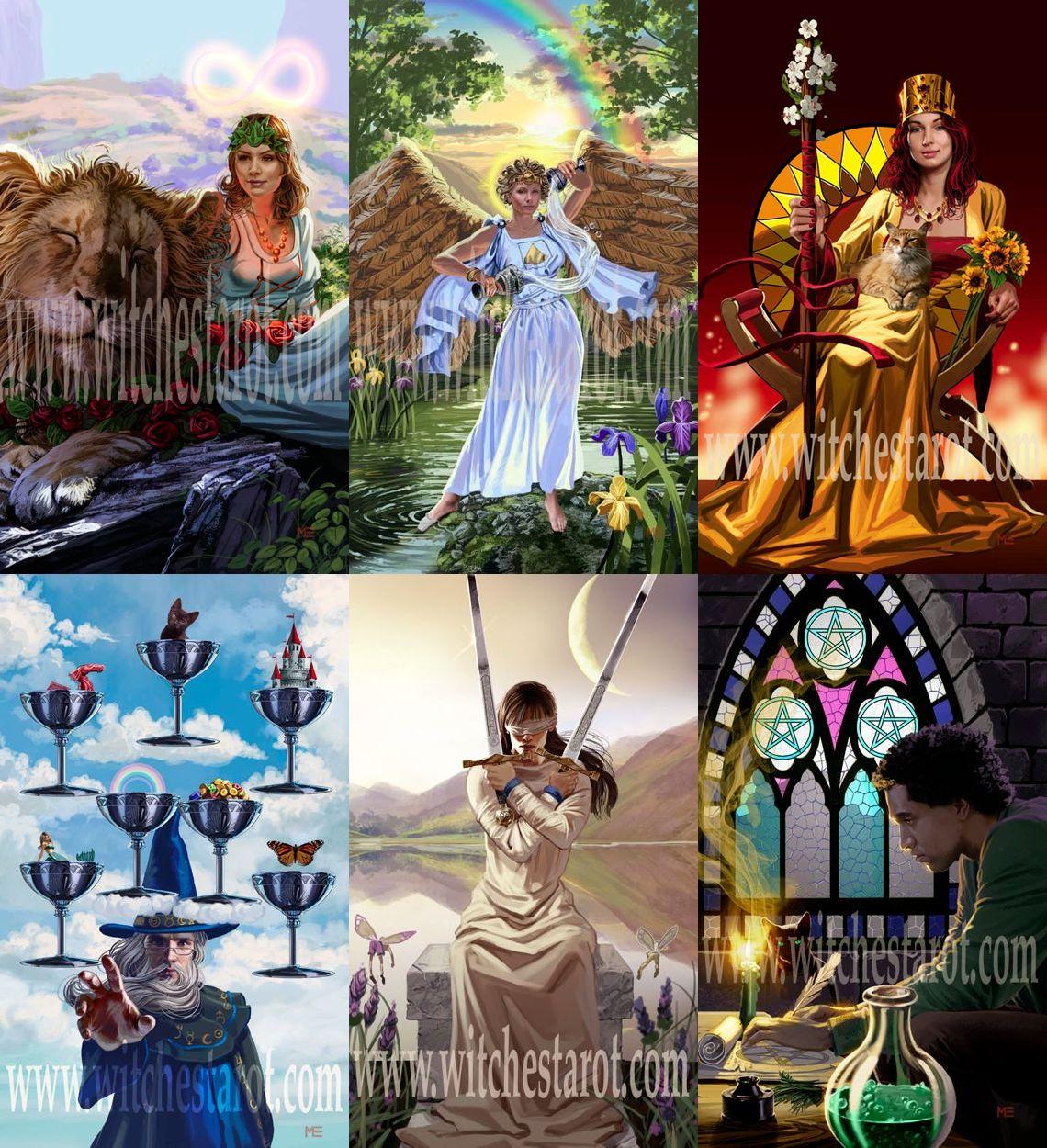 The Witches Tarot ไพ่ทาโรต์แม่มด วิคคา เพแกน ellen dugan ไพ่ทาโร่ ไพ่ยิบซี mark evans ไพ่ Strength ไพ่ Temperance ราชินีไม้เท้า Queen of Wands ไพ่เจ็ดถ้วย Seven Cups ไพ่สองดาบ Two Swords ไพ่สามเหรียญ Three Pentacles