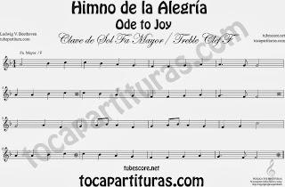 Partitura del Himno de la Alegría fácil en Fa Mayor e instrumentos de Clave de Sol (treble clef) F