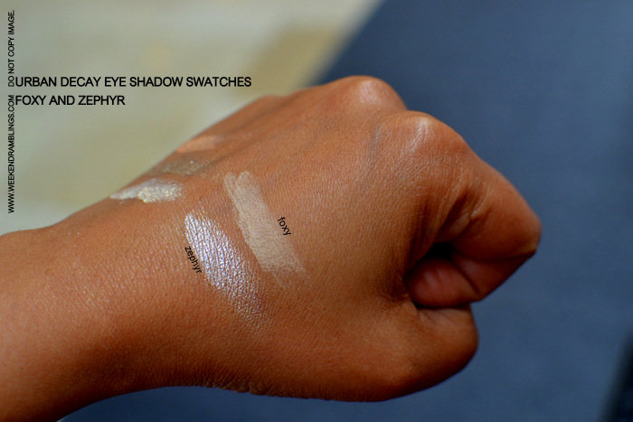 Urban Decay Makeup Eyeshadow Indian Beauty Blog Swatches FOTD Brown Beige Foxy Zephyr