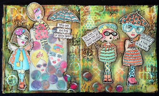 Altered Art Journal Pages, Layering Stencil Paint Resist Technique, Dyan Reaveley Characters