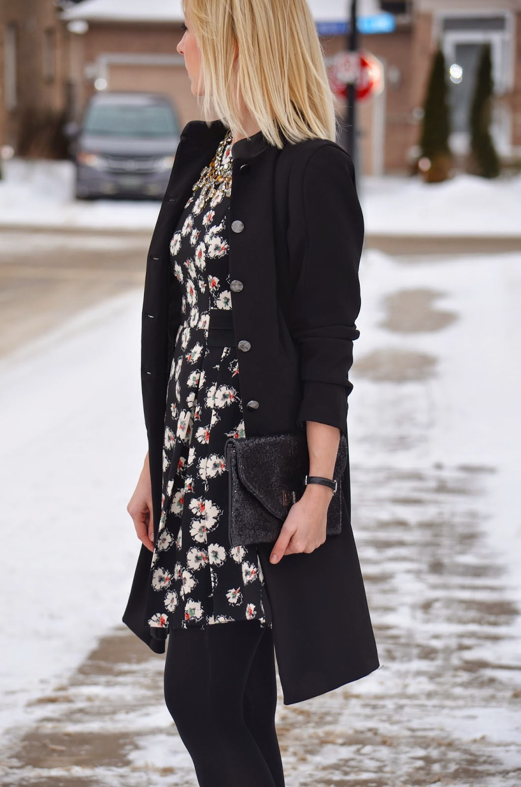 Style, OOTD, Dress, floral dress, floral print, Zara, Zara dress, H&M, winter style,